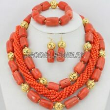 Handmade African Wedding Coral Beads Necklace Set,Fashion Woman Jewelry Set