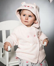Baby Girls Velour Hooded Coat Jacket With Fur Lining Cream or Pink (0-24 Months)