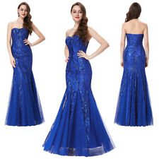GK Sweetheart Tulle Sequins Ball Gown Evening Prom Party Long Mermaid Dress Blue