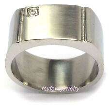 Mens 12mm 316L Stainless Steel CZ Stone Ring Polished  sz 14 15 16