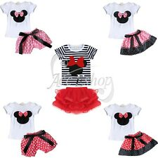 Baby Girls Minnie Mouse Outfits Clothes Striped Bowknot T-shirt Tops + Skirt Set