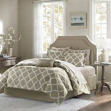 Taupe Reversible Comforter & Sheet Set Decorative Pillow, Shams a Bed Skirt