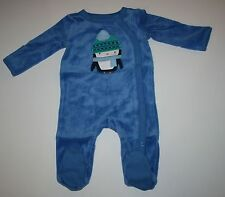 New Gymboree Blue Soft Penguin One Piece Sleep N Play Size NB 0 3 6 9 Months NWT