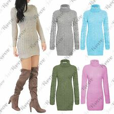 New Womens Polo Roll Neck Long Sleeve Cable Knit Tunic Bodycon Jumper Dress Top