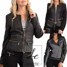 Womens Ladies Black Biker Jacket Leather Look Motorcycle Fashion Size 6-14