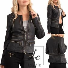 Womens Ladies Black Biker Jacket Leather Look Motorcycle Fashion Sizes 6-14