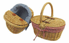 New 1940's 40s 1950's Retro style Wicker Mini Double Flip Top Picnic Basket Bag