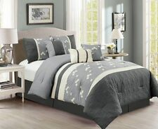 Sophia 7-piece Chenille Flowers Pleated Embroidery Floral Comforter Set Gray