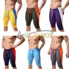 Mens Swim Trunks Sports Boxer Briefs Running Tights Stretch Workout Shorts Pants