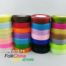 50Yds Roll of 38mm Quality Woven Edge Sheer Organza Ribbon Sewing Wedding Craft