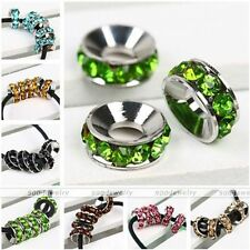 5pc Rondelle Crystal Glass Spacer Loose Bead For Charm Bracelet Jewelry DIY Gift