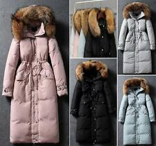 Women's Christmas 100% Real Fur Collar Hoodie Down Jacket Cold Weather Coat