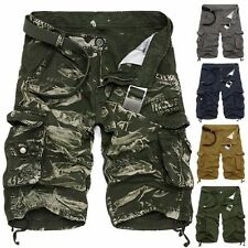 MENS ARMY CASUAL WORK CARGO COMBAT CAMOUFLAGE SHORTS COTTON HALF PANT CAMO PANTS