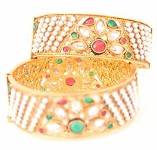 Indian Ethnic Bollywood Gold Plated Openable Bangle Set in Cubic Zirconia Pearls