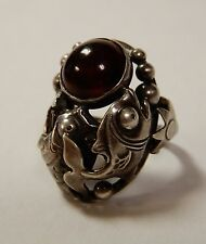 Vintage Sterling Silver & Amber Figural Fish Ring NE From Denmark Danish Modern