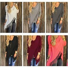 New Casual Lazy Loose Fashion Tassel Slash Tops Long Sleeve Shirts Blouses Women