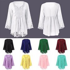 Casual Women Lace Floral Crochet Blouse Patchwork Hollow Long Sleeve Shirts Tops