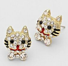 SMILING CAT w/ Crystals, Gold Tone, Post Earrings  FINAL PRICE!!! $17.99!