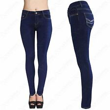 NEW LADIES BLUE WASH SKINNY LOOK JEANS CONTRAST STITCH WOMENS STRETCH FIT DENIM