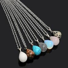 Stone Necklace Natural Stone Water Drop Top Crystal Turquoise Pendant Rock New