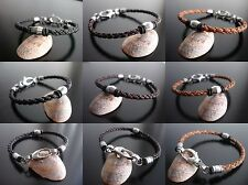 leather bracelet round bolo cord stainless steel bead charm