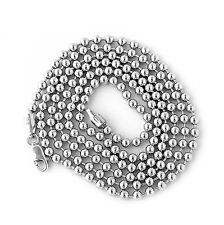 Unisex Solid Sterling Silver Rhodium Plated 3 4/5mm Bead Chain Necklace