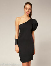 AQ / AQ One Sleeve Structured Black Party Stretch Pencil Dress 8 36 £135