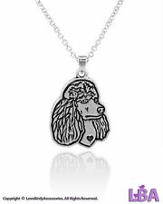 THEME JEWELRY | DOGS | ANTIQUE SILVER TONE POODLE PENDANT NECKLACE CHAIN WOMEN