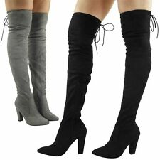 LADIES GIRLS NEW THIGH HIGH OVER THE KNEE FAUX SUEDE TIE UP BACK HEEL BOOTS SHOE