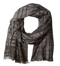 John Varvatos Star USA Men's Scarf Abstract Pigment Black Cashmere $150 msrp NWT