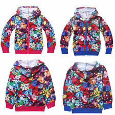 Pokemon Go Kids Boys Girls Long Sleeve Hoodies Hooded Zipper Coat Jacket Shirts