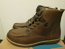 GBX Layne Men's Brown Leather Moc Stitch Toe Lace Up Draft Tall Ankle Boots NEW
