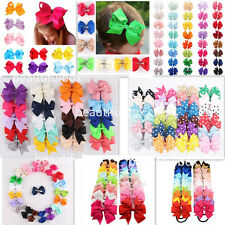 3'' - 6'' Bow Hair Clip Tie Bobble Elastic Band Girl Ribbon Kids Accessories LOT
