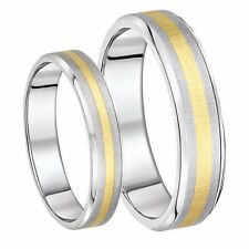 His & Hers Wedding rings Titanium & 9ct gold 5mm & 6mm Bands