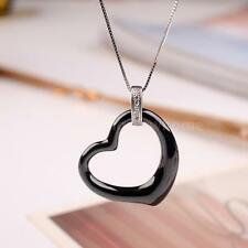 Black Love Heart Ceramic CZ Sterling Silver Pendent Necklace Chain Jewelry Y8N8