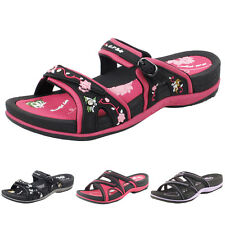 Women Double Adjustable Straps Outdoor Slide Sandals -Gold Pigeon Shoes 6875W