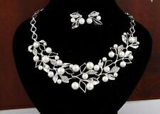 Pearl Set Crystal Women Earrings Silver Plated Lady Bridal Necklace Jewelry Gold