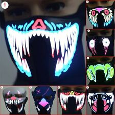 Face Mask Led Light Up Flashing Halloween Party Costume Dance Cosplay Cos Decor