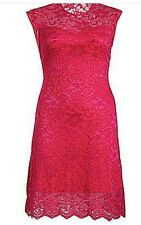 BNWT Praslin Gorgeous PINK Ladies LACE fully LINED DRESS size 16-26 rrp£40