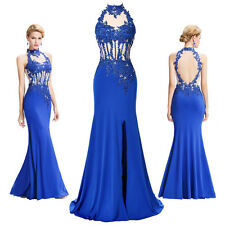 Blue Beaded Evening Formal Party Cocktail Dress Bridesmaid Long Mermaid Gown.