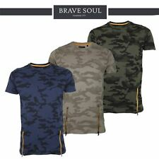 Mens Brave Soul Camo Crew Neck Zip Summer T-Shirt Lightweight Top 100% Cotton