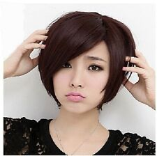 "Women 12"" Oblique Bangs Short Straight Wig Beauify Feature New Black Brown Wig"