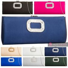 WOMENS NEW SATIN CRYSTAL DETAIL CHAIN STRAP BRIDAL PROM CLUTCH BAG PURSE