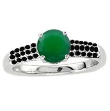 925 Sterling Pure Solid Silver Ring 6mm Natural Green Onyx Round Gemstone Ring