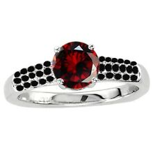 925 Sterling Pure Solid Silver Ring 6mm Natural Red Garnet Round Gemstone Ring