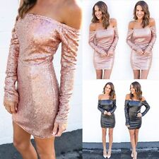 Long Sleeve Off Shoulder Sequin Short Mini Dress Bodycon Cocktail Party Women