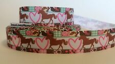 Grosgrain Ribbon, Horse Pony Pink Heart Western Patchwork Border Country Life 1""