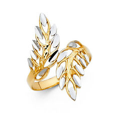 14k Solid Yellow Gold Two 2 Tone Feather Leaf Ring Fancy Ring