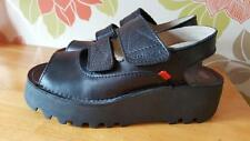 KICKERS Black Leather Velcro Fasten Wedged Womens Sandles Vgc Size 4