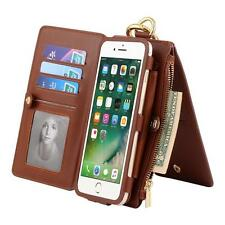 ID Slot Folio PU Leather Zipper Wallet Case Detachable Magnetic Case For iPhone